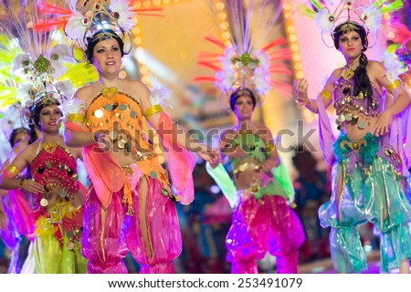 CANARY ISLAND, SPAIN - FEBRUARY 13, 2015: Unidentified girls with Arabic Costumes performing onstage during city of Las Palmas carnival One Thousand and One Nights opening show of Queens Gala. - stock photo
