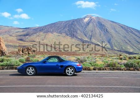 Canary Island, Tenerife; Spain -5.07.2014-Parque Nacional del Teide. Porsche  Boxster. Porsche - German automobile manufacturer specializing in high-performance sports cars, SUVs and sedans.  - stock photo