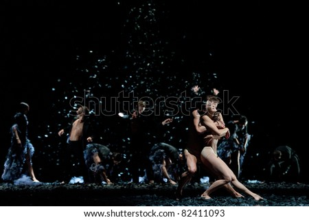 CANARY ISLANDS – AUGUST 5: Dancers from Malandain Ballet Biarritz from France performing onstage during  Festival of Theater, Music and Dance August 5, 2011 in Las Palmas, Canary Islands, Spain - stock photo