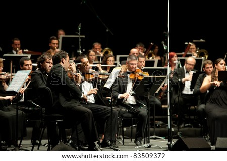 CANARY ISLANDS – AUGUST: 03: Otto Edelmann Socity and Sinfonica de Las Palmas, performing onstage during Festival of Music August 03, 2011 in Canary Islands, Spain - stock photo