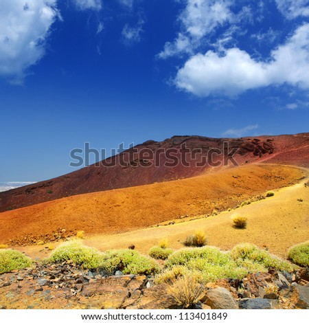 Canary islands in Tenerife Teide National Park Montana Mostaza mountain - stock photo