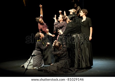 CANARY ISLANDS - JULY 14: Actors from Tribuene Teatro in Madrid, playing La Casa de Bernarda Alba, written by Federico Garcia Lorca, during Festival of Theatre July 14, 2011 in Canary Islands, Spain - stock photo