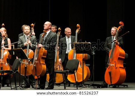 CANARY ISLANDS - JULY 23: Bratislava Symphony Orchestra from Slovakia, performing onstage during Festival of Music July 23, 2011 in Las Palmas, Canary Islands, Spain - stock photo