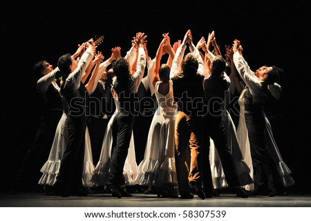 CANARY  ISLANDS - JULY 31: Company Antonio Gades from Spain performing Blood Wedding based on Fredrico Garcia Lorca tragedy during the Theater, Music and Dance Festival July 31, 2010 in Canary Islands - stock photo