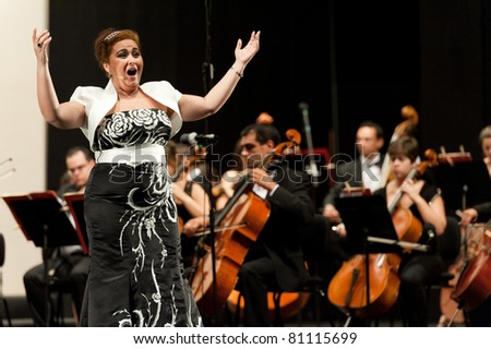 "CANARY ISLANDS - JULY 16: Soprano Judith Pezoa from Spain, singing ""Der holle Rache"" from Mozart, onstage during Festival of Music July 16, 2011 in Las Palmas, Canary Islands, Spain"