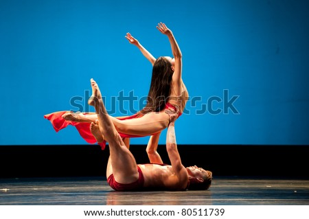 CANARY ISLANDS - 5 JULY: Xiaochuan Xie and Tadej Brdnik from Martha Graham Dance Company, performing onstage during 15 th Festival of Theater, Music and Dance July 5, 2011 in Canary Islands, Spain
