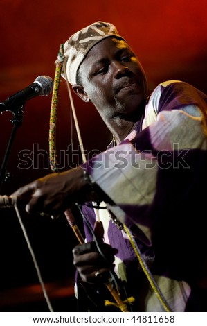 CANARY ISLANDS - NOVEMBER 15: African master musician Juldeh Camara from Gambia performs on stage during the festival Womad November 15, 2009 in  Canary Islands, Spain.