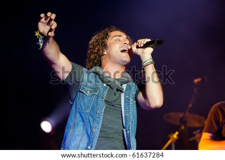 CANARY ISLANDS - SEPTEMBER: David Bisbal, Latin Grammy-winning pop singer, from Spain, performing onstage September 24, 2010 in Canary Islands, Spain.