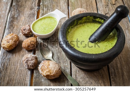 canary style potato with coriander sauce called green mojo - stock photo