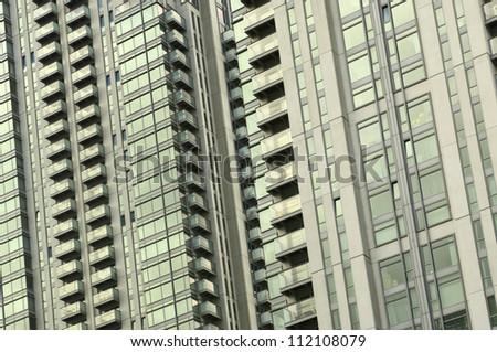 Canary Wharf architecture fragment, London, England - stock photo