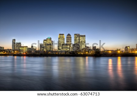 Canary Wharf at dusk, Famous skyscrapers of London's financial district. HDR. This view includes: Credit Suisse, Morgan Stanley, HSBC Group Head Office, Canary Wharf Tower, Citigroup Centre