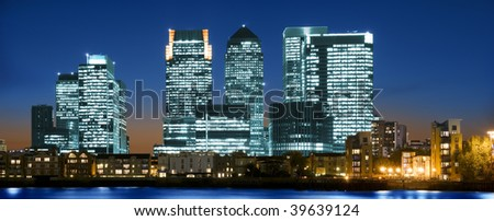 Canary Wharf at sunset.