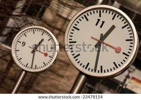 Canary Wharf Clocks, London - stock photo
