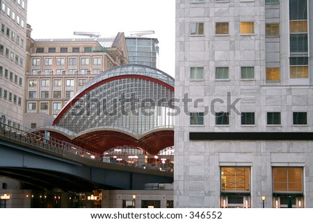 Canary wharf DLR station - stock photo