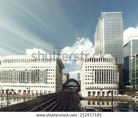Canary Wharf docklands station in London, UK - stock photo