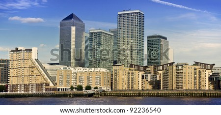 Canary Wharf, Famous skyscrapers and executive apartments of London's financial district. - stock photo