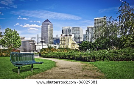 Canary Wharf, Famous skyscrapers of London's financial district. - stock photo