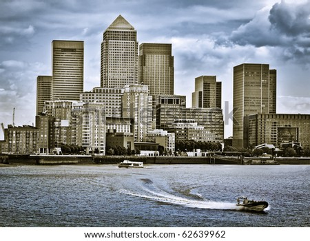 Canary Wharf, Famous skyscrapers of London's financial district. Incl.: Credit Suisse, Morgan Stanley, HSBC Group Head Office, Canary Wharf Tower, Citigroup Centre, One Churchill Place(Barclays) - stock photo