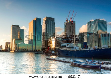 Canary Wharf from East India Dock - stock photo