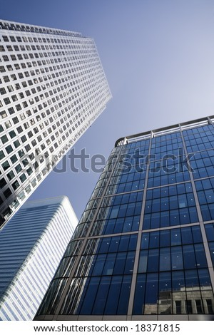 Canary Wharf in London Docklands financial district with copy space
