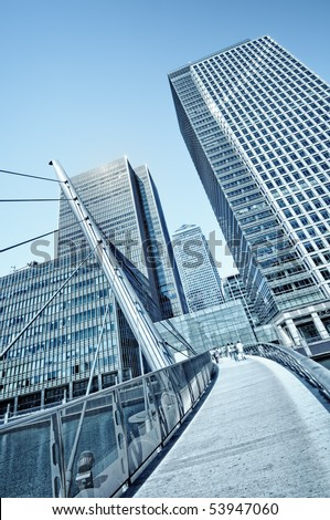 Canary Wharf is a large business and shopping development in East London.Rivalling London's traditional financial centre. This view contains the UK's tallest buildings - stock photo