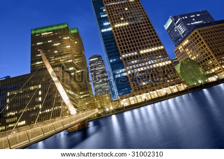 Canary Wharf is a modern business and shopping development in East London.Rivalling London's traditional financial centre. This view contains the UK's tallest buildings - stock photo