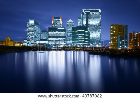 Canary Wharf is a modern business and shopping development in East London.Rivalling London's traditional financial centre. This view contains the UK's tallest building: One Canada Square