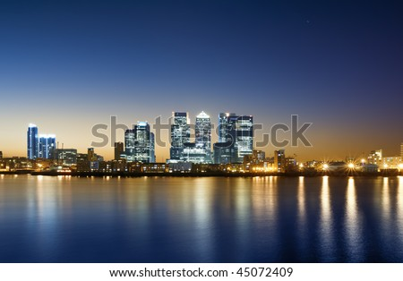 Canary Wharf, London. Canary Wharf view from O2 Arena. - stock photo