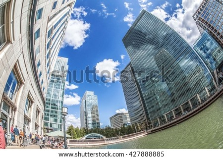 Canary Wharf, London, June 2015. London's main business district.