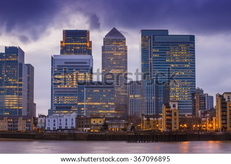Canary Wharf, London's major financial district at magic hour - London, UK - stock photo