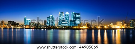 Canary Wharf night panorama (London, UK) - stock photo