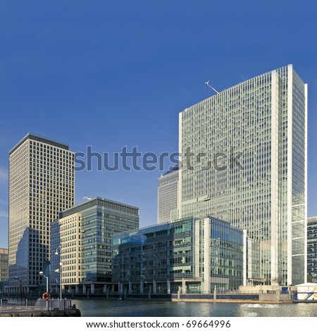 Canary Wharf on a sunny afternoon in London.