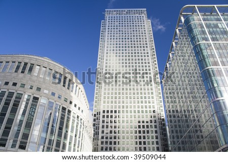 Canary Wharf skyscrapers in London in a clear day - stock photo