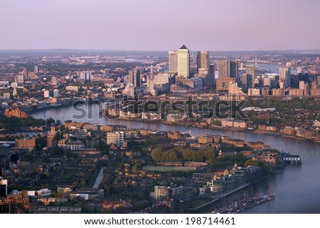 Canary Wharf, the financial district, from The Shard, London, United Kingdom, UK, Europe - stock photo