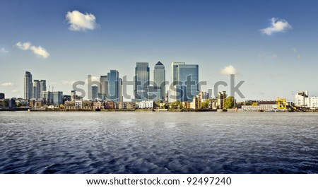 Canary Wharf view from Greenwich, London, UK - stock photo