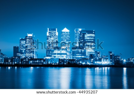Canary Wharf view from O2 Arena. - stock photo