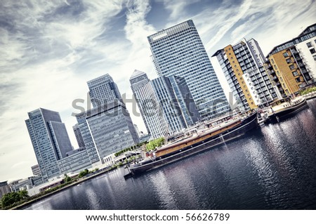 Canary Wharf view from West India Docks. - stock photo