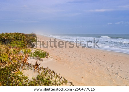 canaveral national seashore beach on partly cloudy morning - stock photo