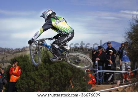 CANBERRA, ACT - SEPT 6: 2009 UCI mountain bike world championships for Downhill Men Elite Sept 6, 2009 in Canberra Australia. - stock photo
