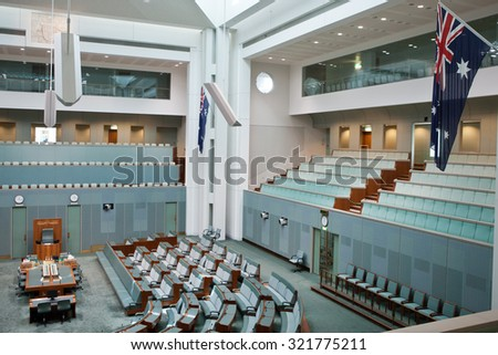 CANBERRA - APR 12: Inside House of Representatives, the lower house of the bicameral Parliament of Australia. April 12th, 2013 Canberra Australia - stock photo