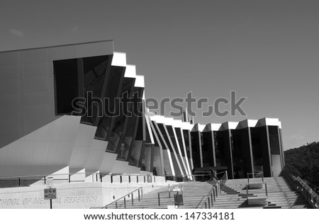 CANBERRA � August 18: Contemporary architecture building at Australian National University, ANU, Canberra. Australia. Black and White photo. August 18, 2012, Canberra, Australia. - stock photo