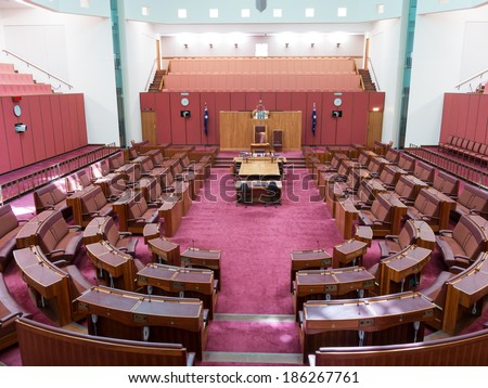CANBERRA, AUSTRALIA - FEB 06, 2014: Interior view of Australian Senate in Parliament of Australia, Canberra, Australia - stock photo
