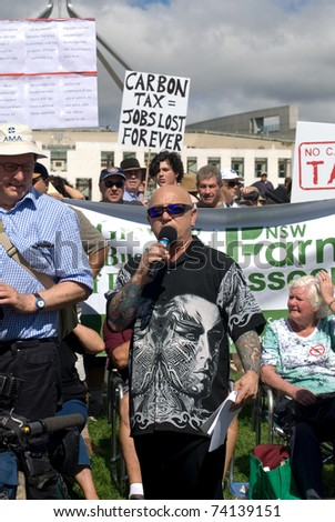 CANBERRA, AUSTRALIA - MARCH 23 : Australian rock singer, Angry Anderson, compere of the 'No Carbon Tax' rally, which was held in front of Parliament House on March 23, 2011, Canberra, Australia.