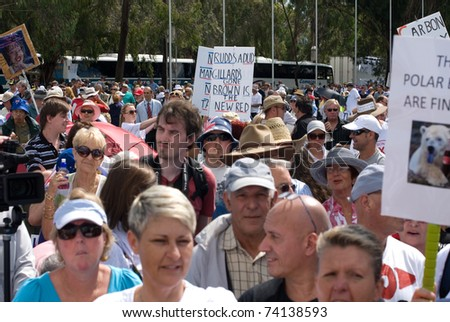 CANBERRA, AUSTRALIA - MARCH 23 : Protesters at the 'No Carbon Tax' rally, which was held in front of Parliament House, 23 March, 2011, Canberra, Australia