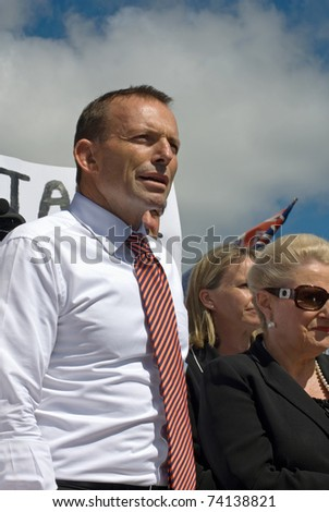 CANBERRA, AUSTRALIA - MARCH 23 : Tony Abbott, Federal Opposition Leader, on stage at the 'No Carbon Tax' rally, held in front of Parliament House on March 23, 2011, in Canberra, Australia.