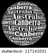 Canberra capital city of Australia info-text graphics and arrangement concept on black background (word cloud) - stock photo