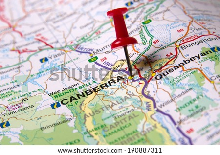Canberra  in Australia in the map - stock photo