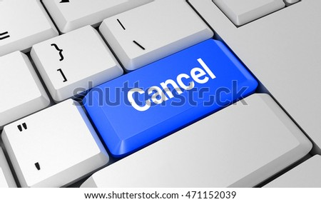 Cancel button. Keyboard. Blue key. Blue button. 3D rendering