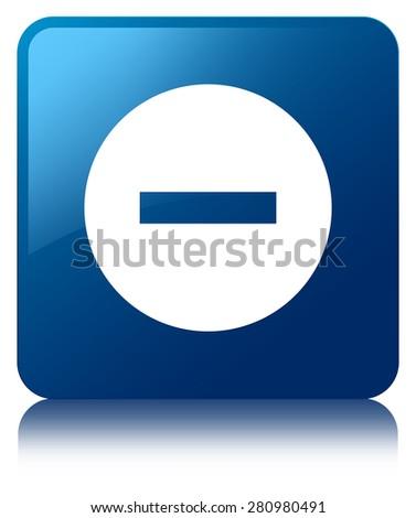 Cancel icon blue square button - stock photo
