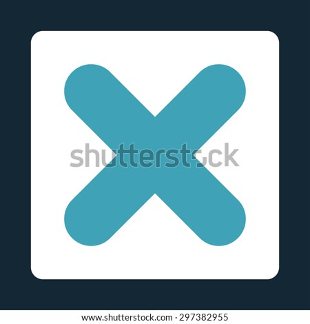 Cancel icon from Primitive Buttons OverColor Set. This rounded square flat button is drawn with blue and white colors on a dark blue background. - stock photo